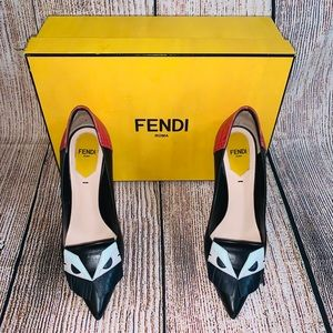 Fendi Multicolor Leather Monster Eyes Pointed Pump